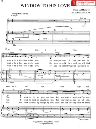 Window To His Love Sheet Music Download Deseret Book