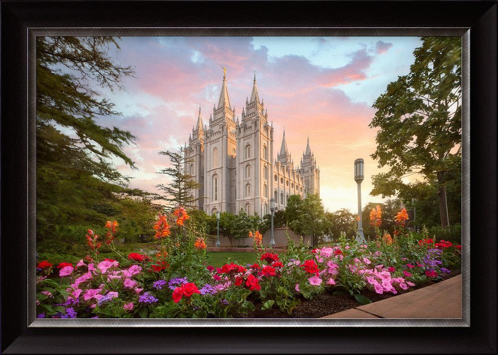 Summer Glow Salt Lake Temple (33x46 Framed Art) - Deseret Book