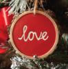 Red love bark ornament