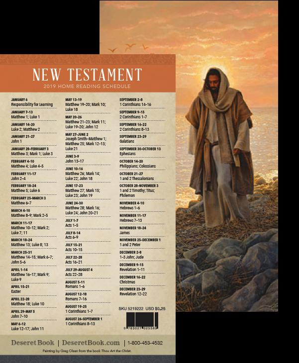 New testament reading schedule bookmark
